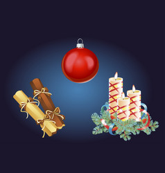 set of christmas and new year decoration and vector image