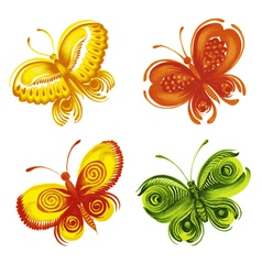 set of decorative ornament butterflies vector image vector image