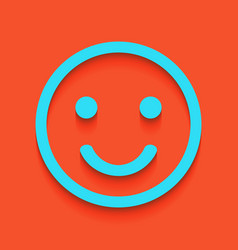 Smile icon whitish icon on brick wall as vector