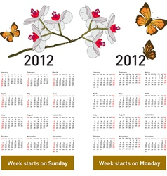 Stylish calendar with flowers and butterflies for vector