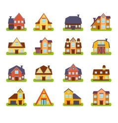 Suburban Real Estate Houses Exteriors Set vector image vector image