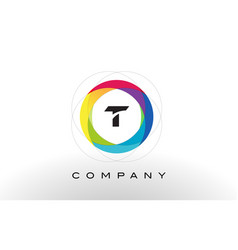 T letter logo with rainbow circle design vector