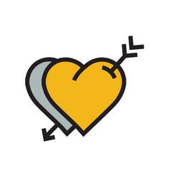 two heart arrow icon yellow color vector image vector image