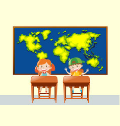Two students in geography class vector