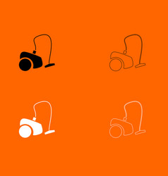 Vacuum cleaner black and white set icon vector