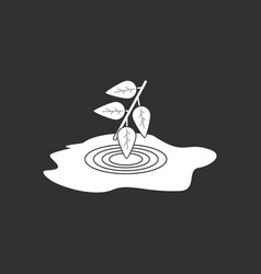 White icon on black background bush and puddle vector
