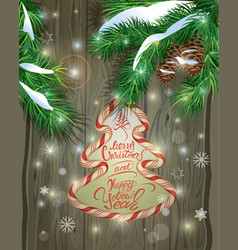 Winter holiday design old wooden background with vector