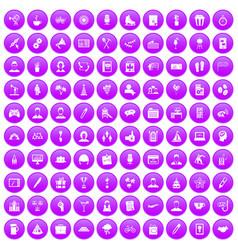 100 team building icons set purple vector