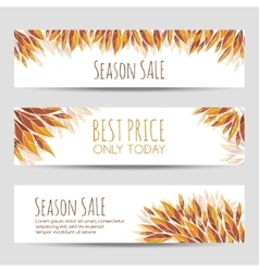Set of headers banners with autumn leaves vector
