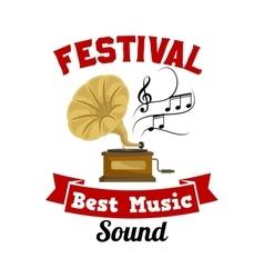 Gramophone Best music sound festival emblem vector image