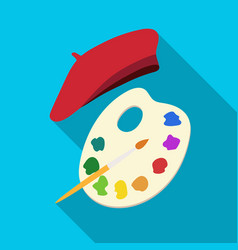 painting palette and beret icon in flat style vector image