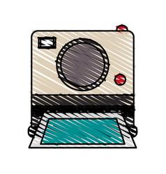 Color crayon stripe image instant photo camera vector