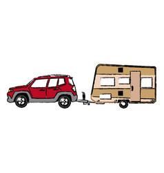 Drawn suv car camper trailer travel transport vector