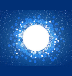 snowflakes and stars round frame for christmas vector image