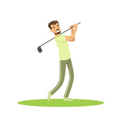 Golf player in a green uniform taking a swing vector