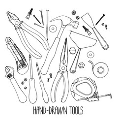 Hand drawn construction tools vector