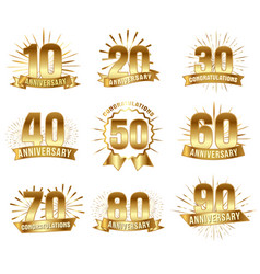 Anniversary numbers in gold vector