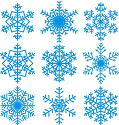 set of blue snowflackes vector image