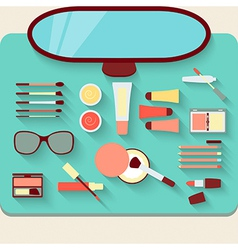Dressing table with cosmetics top view vector