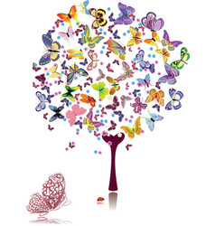 Tree of butterflies vector