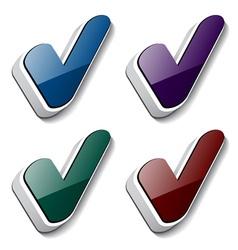 3d checkmark symbols vector
