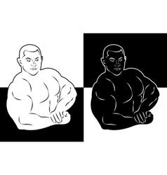 Muscle man bodybuilder icon vector