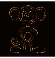 Monkey silhouette of lights vector