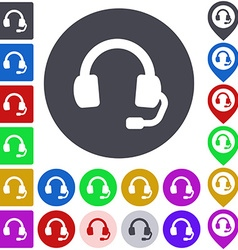 Color headphone icon set vector