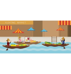 Floating market boat travel vector