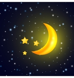Moon and stars background with evening sky vector