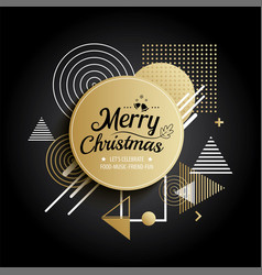 abstract meryy christmas gold circle geometric vector image vector image
