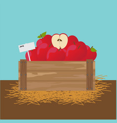 Apple in a wooden crate vector
