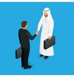 Arabian partners handshake concept business deal vector