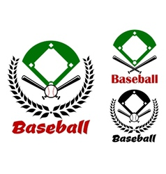 Baseball heraldic emblems or badges vector image vector image