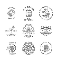 Bitcoin logo templates set cryptocurrency badge vector