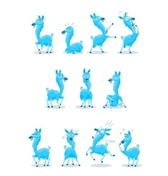 Blue llama with various expressions vector