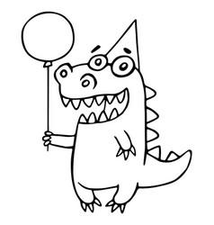 Cartoon dragon congratulates vector