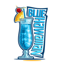 Cocktail blue hawaiian vector