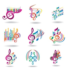 Colorful music notes set of music design elements vector