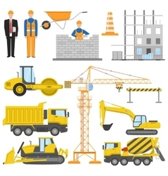 Construction Flat Elements Set vector image