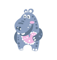 Cute smiling cartoon hippo character vector