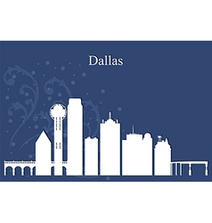 Dallas city skyline on blue background vector