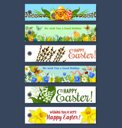 Easter holiday floral tag and gift label set vector