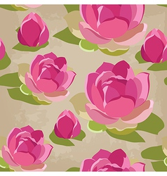 Floral seamless pattern with lotus hand-drawing vector image