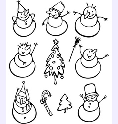 Fun snowmen vector