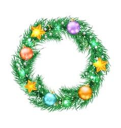 Green christmas tree wreath with Christmas vector image