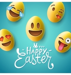 Happy Easter poster easter eggs with emoji faces vector image
