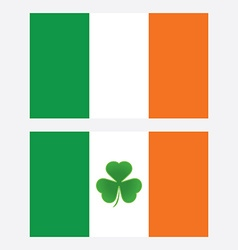 ireland flag with shamrock leaf isolated vector image