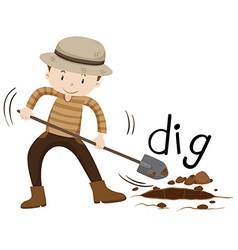 Man with shovel digging a hole vector image