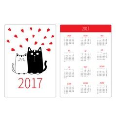 Pocket calendar 2017 year week starts sunday flat vector